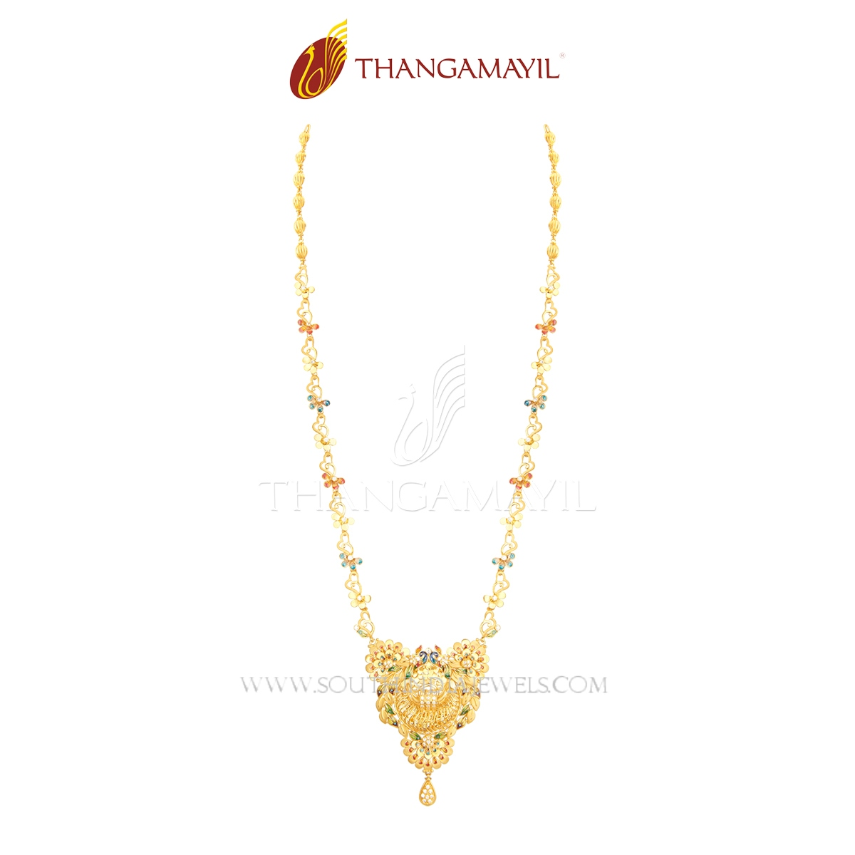 Light Weight Gold Peacock Haram From Thagamayil Jewellery