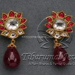 Gold Earrings With Rubies & Flat Diamonds