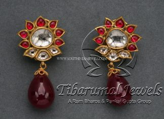 Gold Earrings With Rubies & Flat Diamonds
