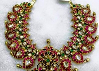 Gold Antique Ruby Mango Necklace