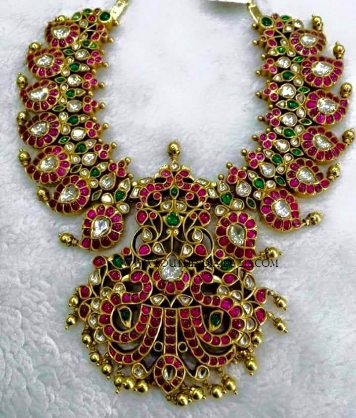 india pearl chain with jewels gold ruby necklace south antique pendant