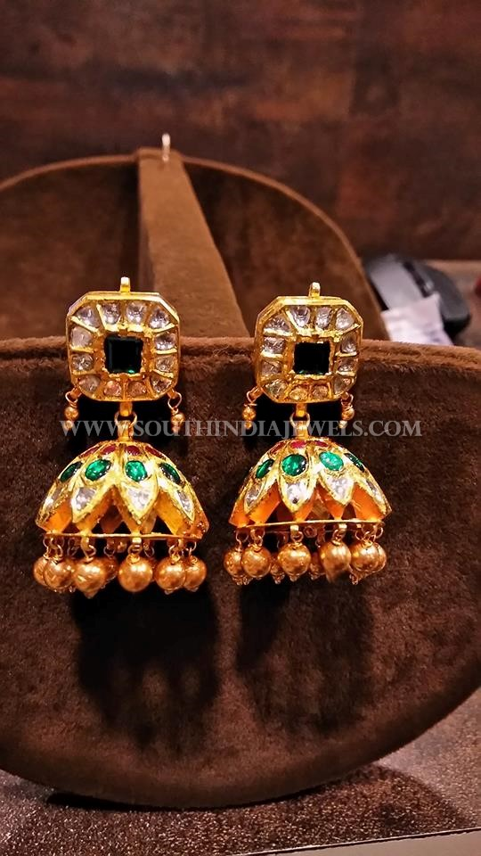 Gold Antique Jhumka With Green Kemp Stones