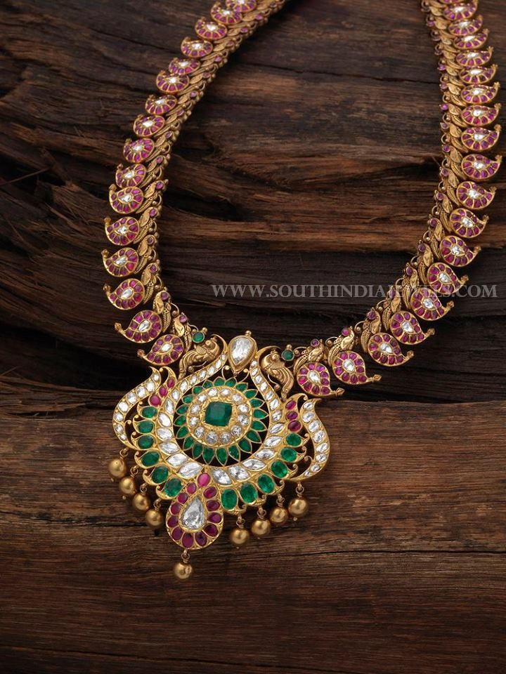 Gold Antique Ruby Emerald Necklace With Price Details