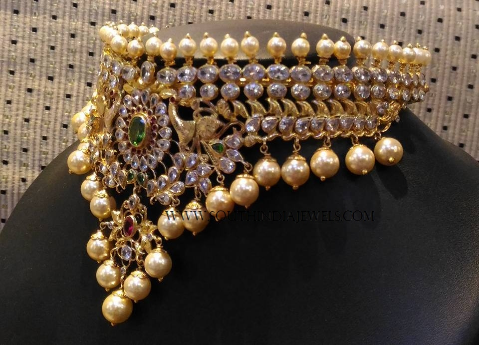 503a2ff7c8f875 Gold Light Weight Pearl Choker ~ South India Jewels