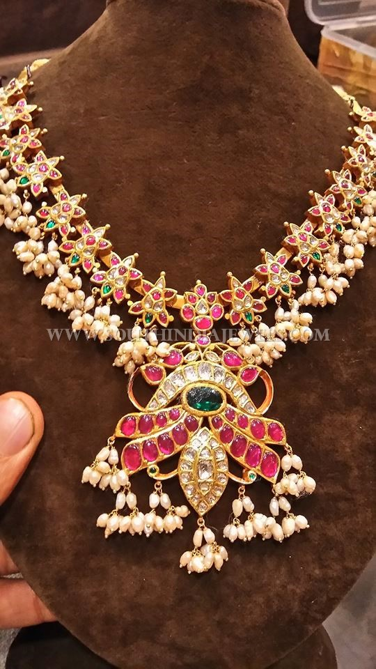 Gold Antique Necklace With Rubies & Pearls