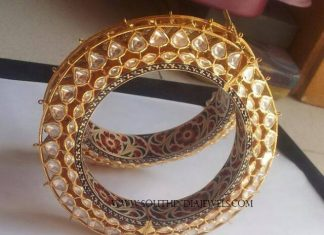 Gold Kundan Bangles with Meenakari Work