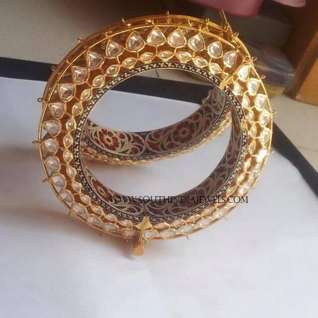 Gold Kundan Bangles with Meenakari Work