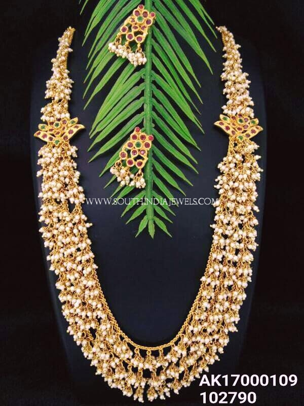 Multilayer Pearl Chain Haram With Earrings
