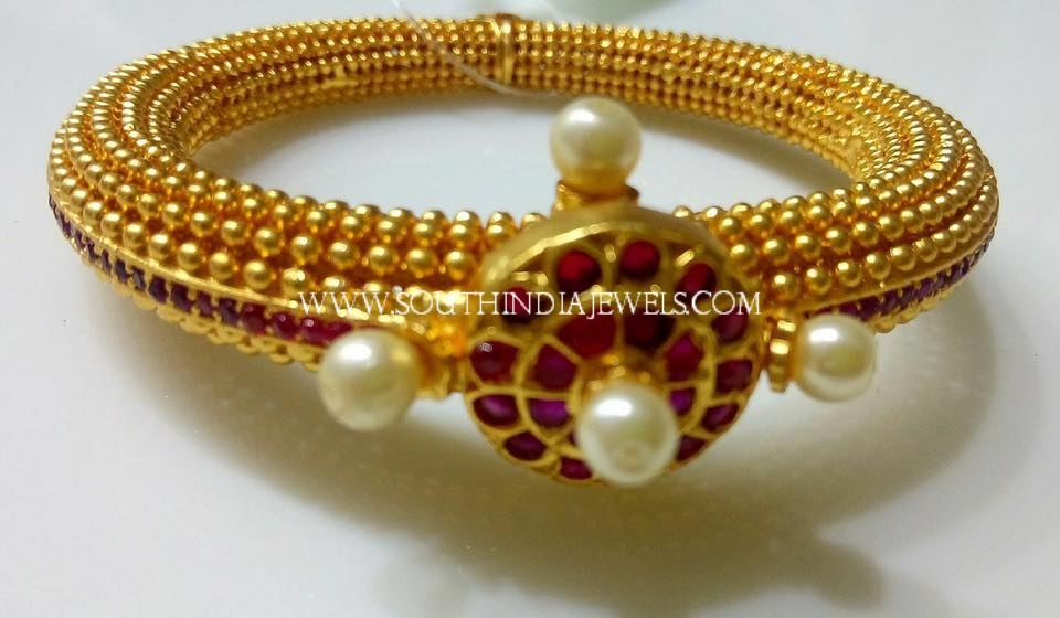 One Gram Gold Ruby Pearl Kada