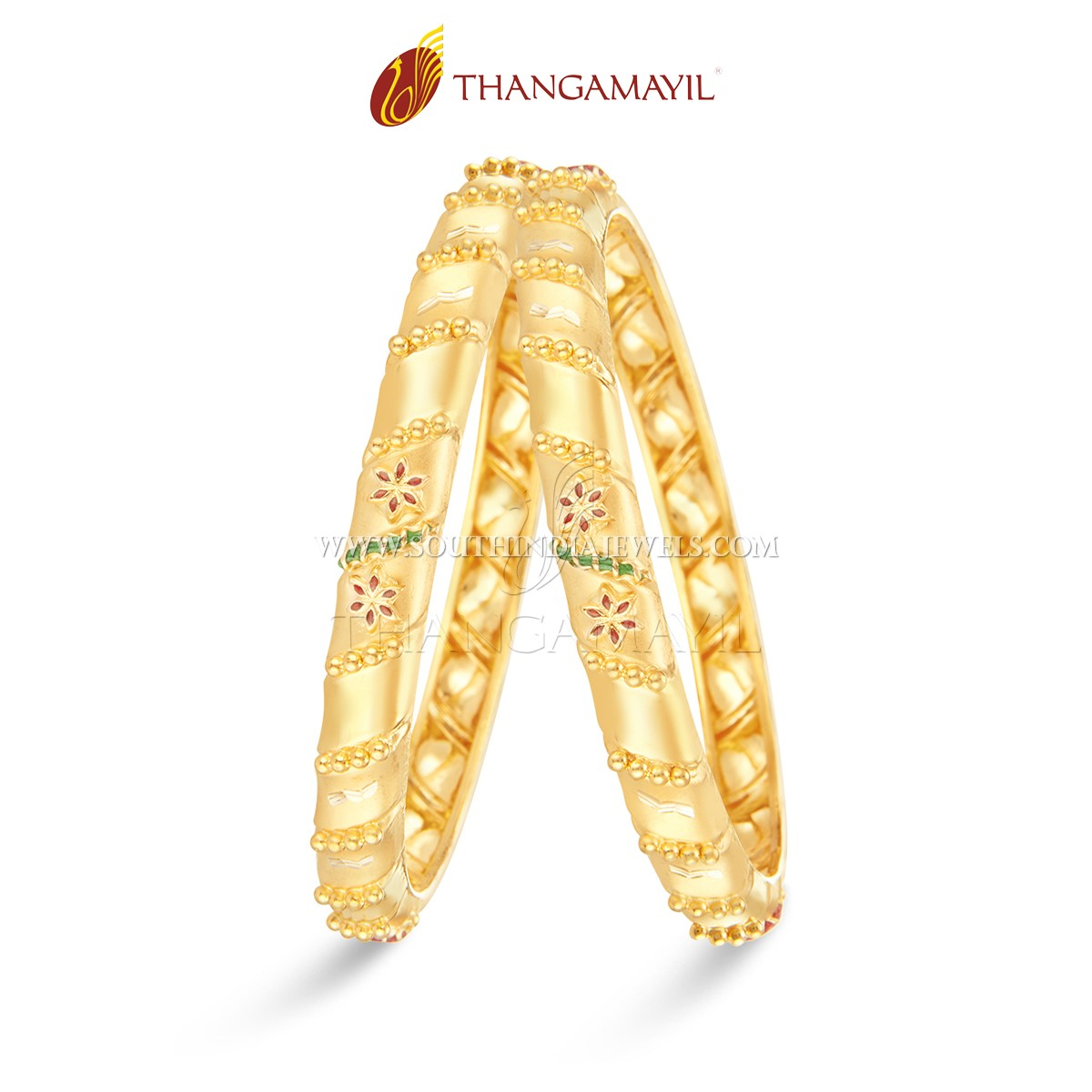 22K Gold Bangle With Enamel Work From Thangamayil
