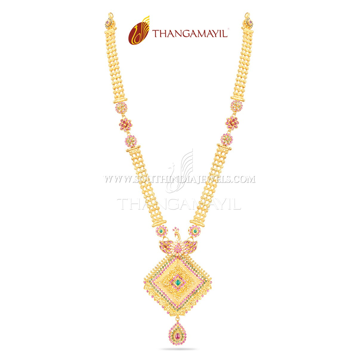 22k Gold Stone Haram From Thangamayil Jewellery