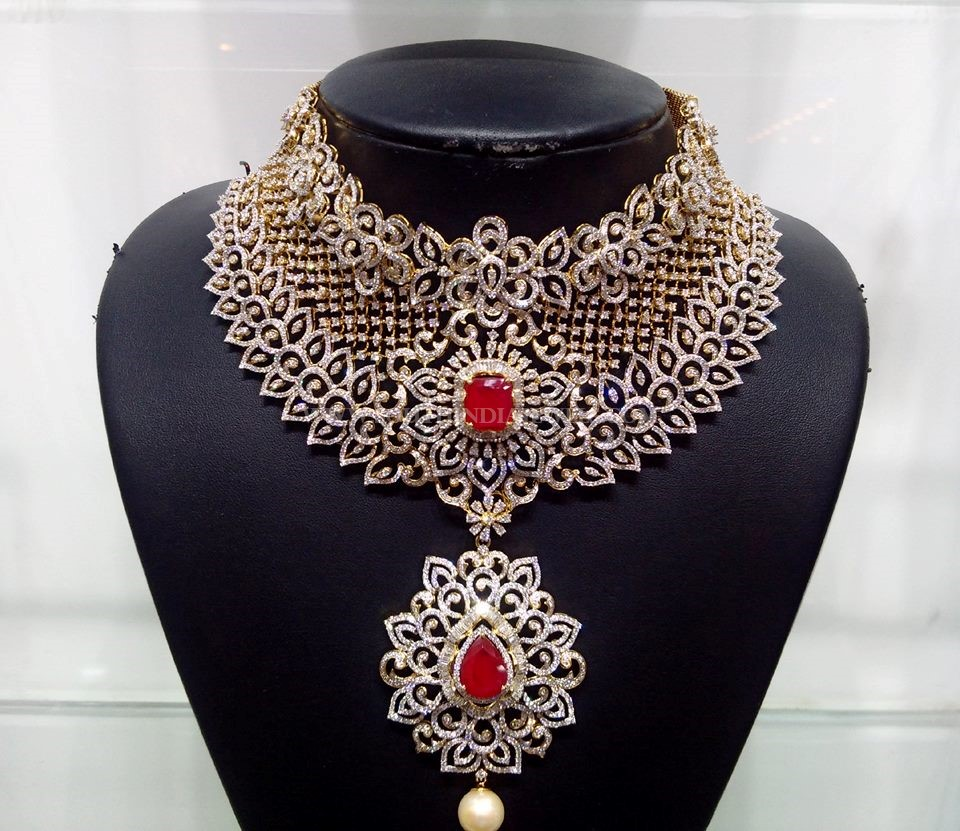 Bridal Diamond Necklace With Belgium Diamonds