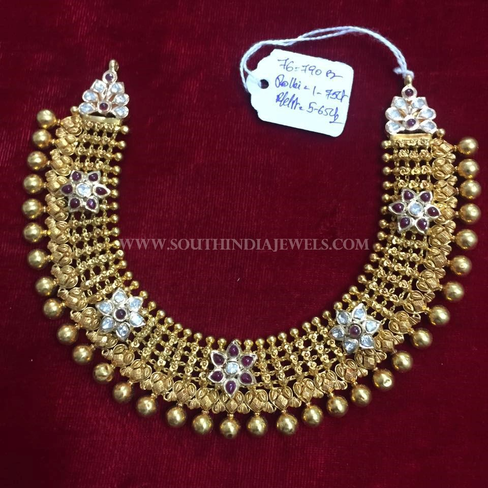 Gold Antique Choker From Balaji Gems & Jewellery