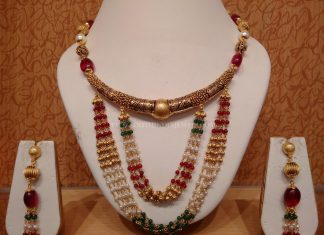 Gold Light Weight Antique Kanti Necklace From NAJ