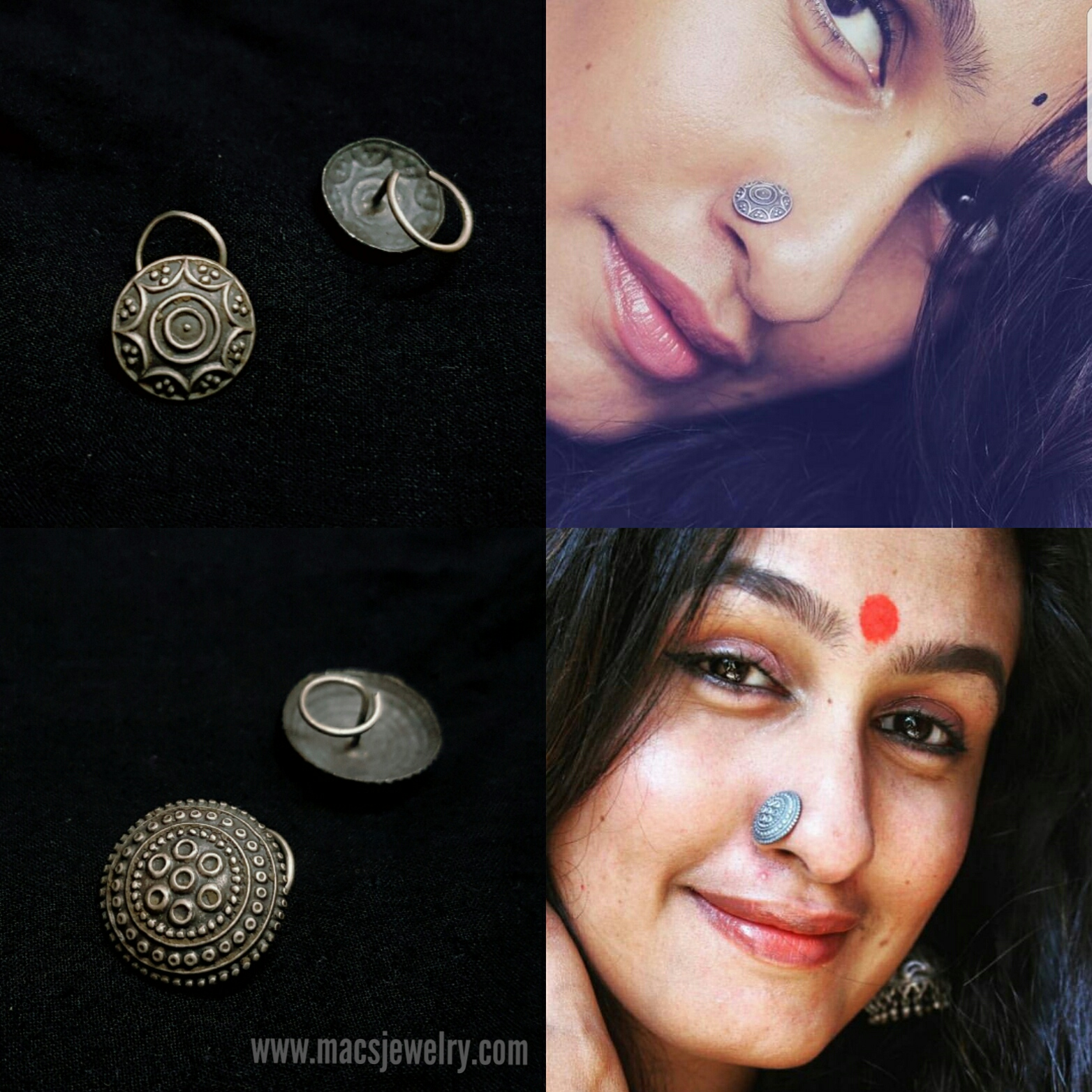 Oxidized Indian Silver Nose Pin