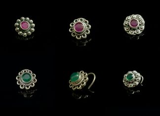 Pure Silver Nose Pins With Precious Stones