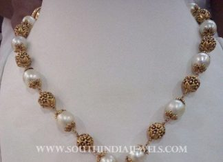 Gold Antique Pearl Mala With Lakshmi Pendant