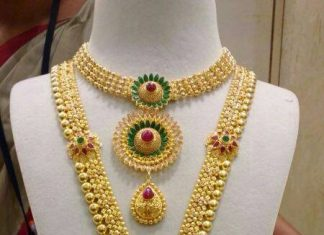Bridal Gold Necklace and Haram From CMR Jewels