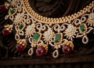 Diamond Necklace With Rubies & Emearlds