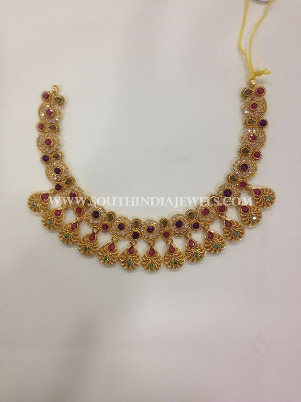 Gold Designer CZ Stone Necklace From CMR Jewels