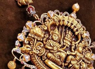 Gold Diamond Temple Pendant Design