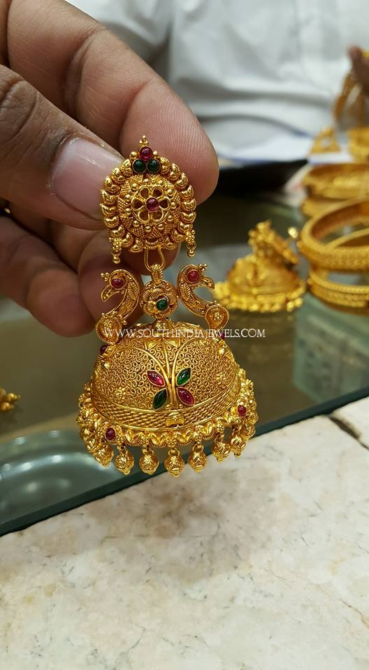 Gold Enamel Jhumka From SK Jewels