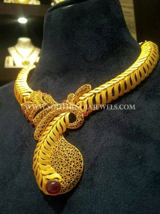 Gold Matt Finish Designer Necklace From CMR Jewels