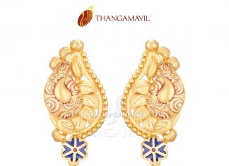Gold Matt Finish Ear Stud From Thanamayil