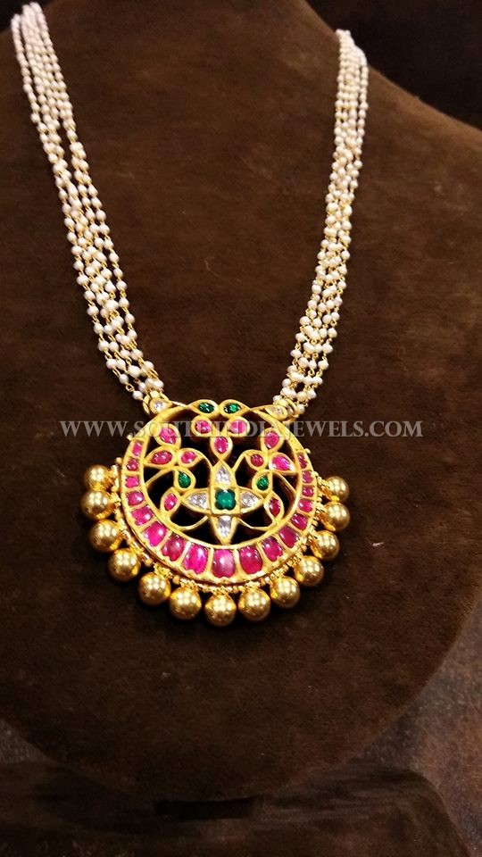 Gold Pearl Chain With Antique Ruby Pendant