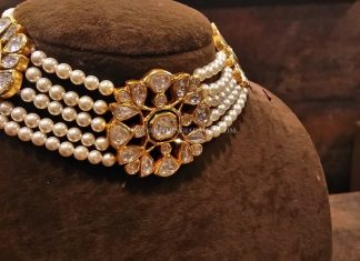 Gold Pearl Choker With Uncut Diamonds