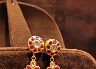 Gold Antique Ruby Kemp Jhumka