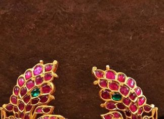 Gold Kemp Ruby Peacock Jhumka Design