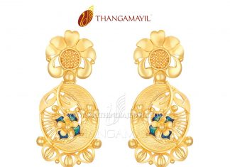 Matt Finish Gold Designer Earrings From Thangamayil