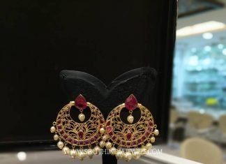 Gold Ruby Chandbali From Sri Ganapathi Jewellers