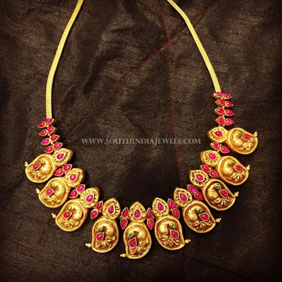 Short Antique Gold Peacock Necklace Design