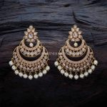Gold Plated Antique Chandbali Earrings