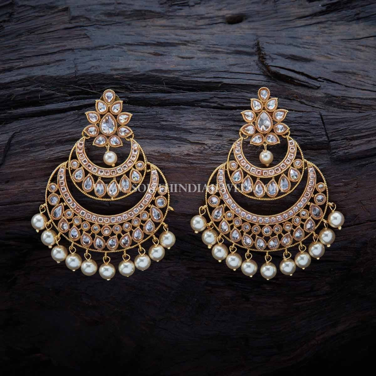 Gold Plated Antique Chandbali Earrings South India Jewels