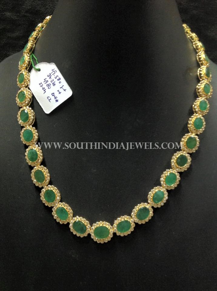 Simple Gold CZ Emerald Necklace