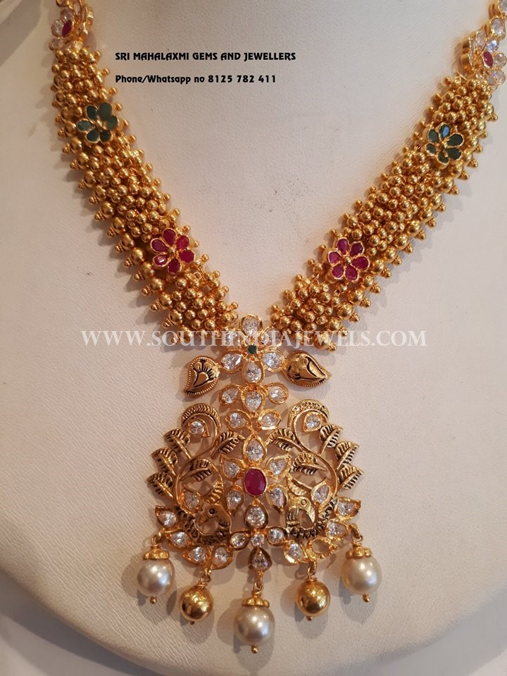 Gold Gajjal Necklace With Nakshi Locket