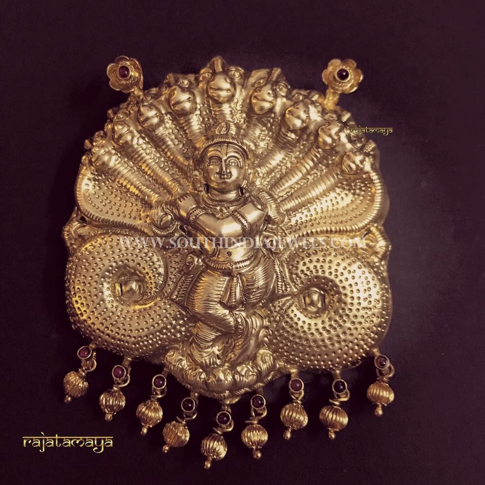 Gold Lord Krishna Pendant From Rajatamaya