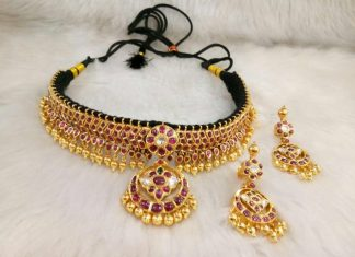 Gold Kundan Necklace & Chandbali Earrings