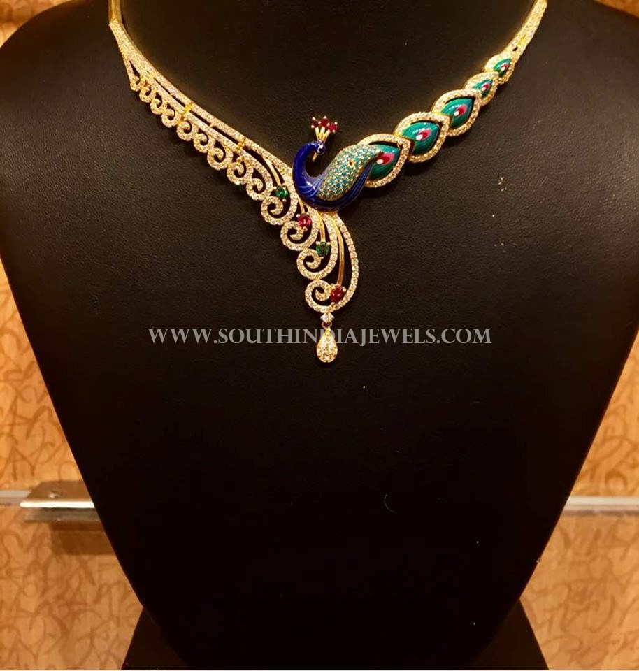Gold Peacock CZ Necklace From NAJ Jewellery