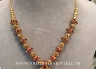 Gold Antique Ball Necklace With Ruby Pendant