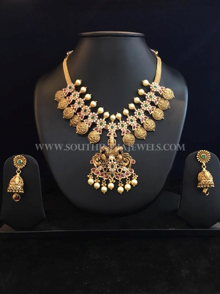 Gold Necklace Set With Jhumka From Bhavani Jewellers