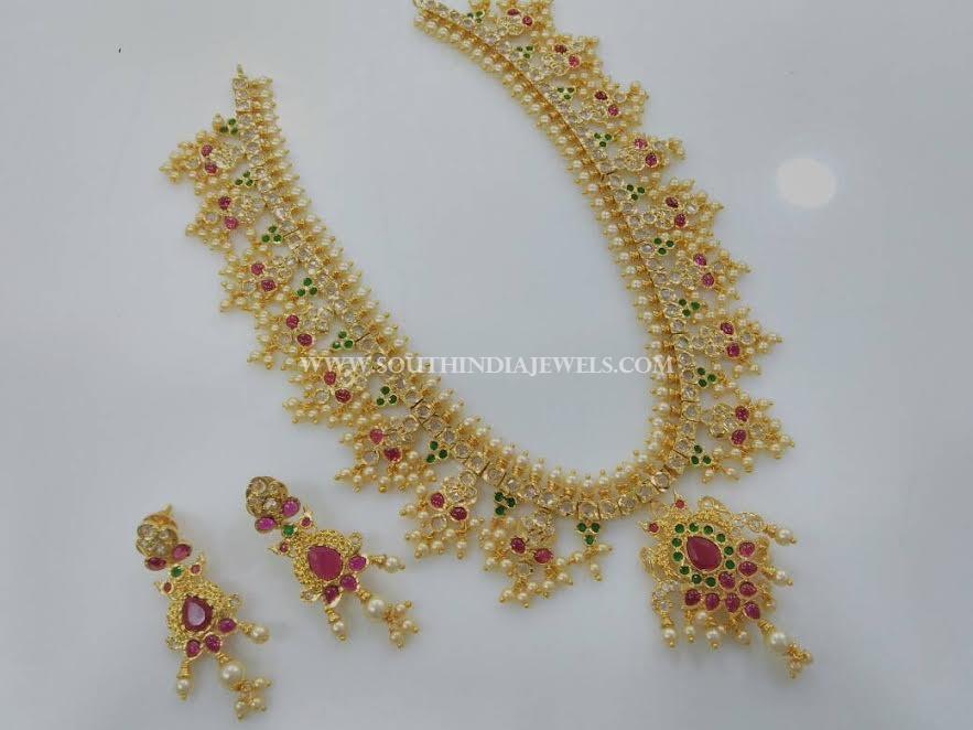 Imitation Guttapusalu Necklace With Earrings