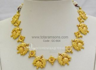 Matt Finish Gold Traditional Necklace