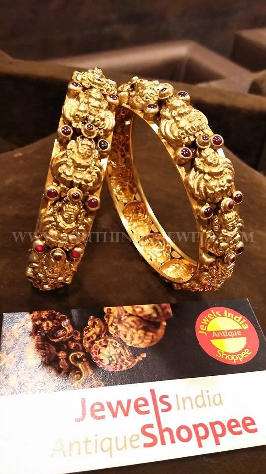 Latest Gold Antique Bangle Design With Rubies