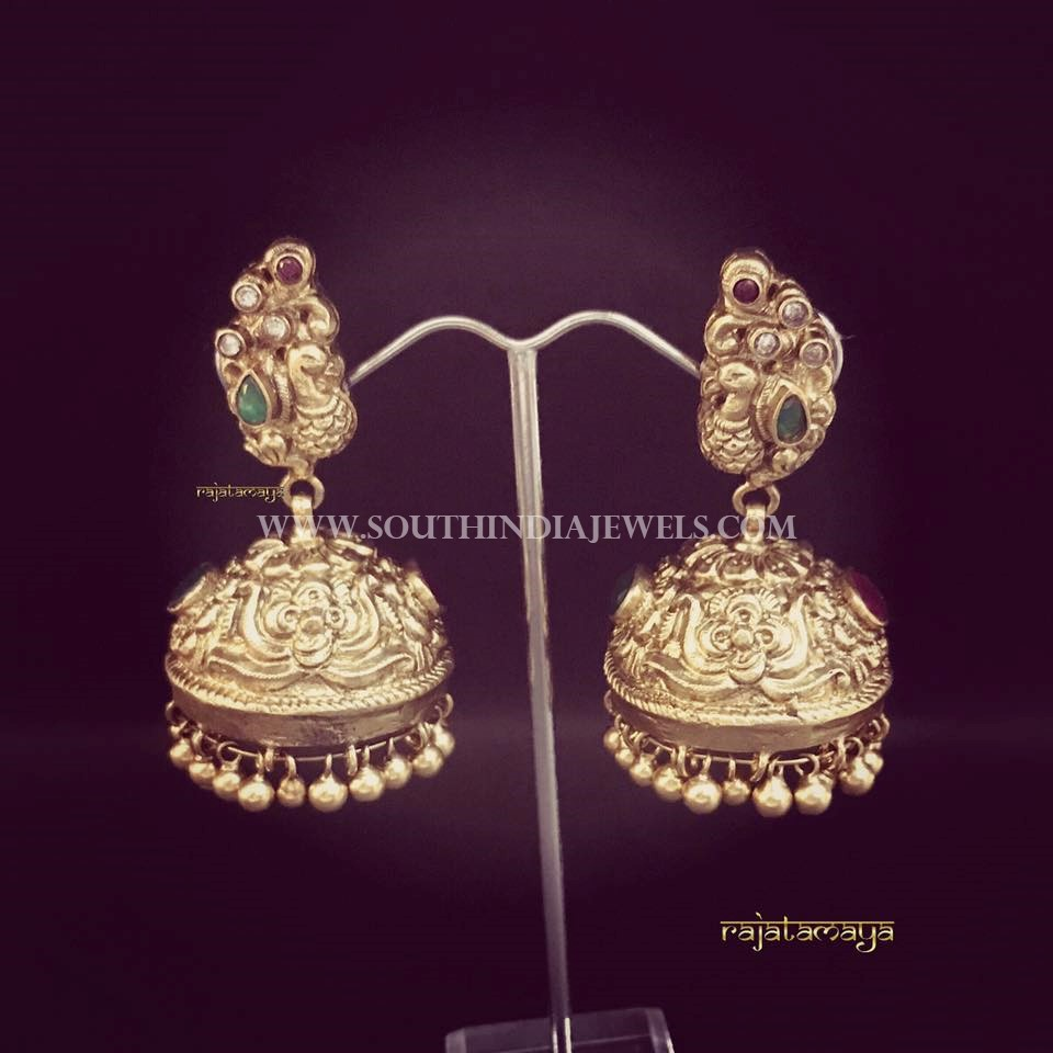 Gold Antique Jhumka From Raja