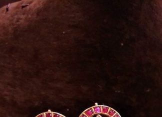 Gold Antique Ruby Ear Stud Design