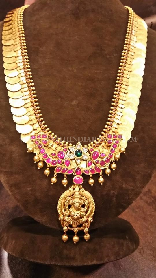 Gold Kasu Haram With Ganesh Pendant